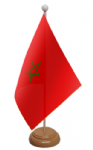 Morocco Desk / Table Flag with wooden stand and base